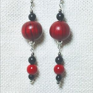 Deep Red Wood Beads with Black Accents Earrings